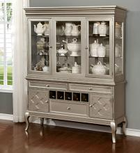 CM3219-H-SV Amina silver finish wood dining sideboard server and hutch cabinet