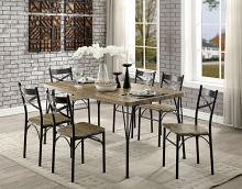 CM3279T-60-7PK 7 pc banbury industrial style weathered finish wood dark bronze bistro table and chairs
