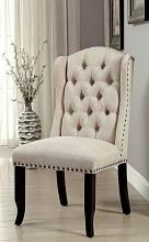 CM3324BK-SC-2PK Set of 2 Sania III beige linen like fabric antique black finish wood dining side chair