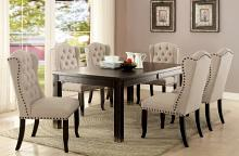 CM3324BK-T 7 pc sania i antique black finish wood rustic style dining table set with tufted chairs