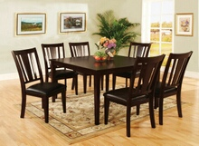 7 pc bridgette i transitional style espresso finish wood dining table set with padded leatherette seats
