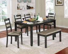 CM3331GY-T-6PK 6 pc Gloria gray finish wood dining table set with bench