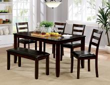 CM3331T-6PK 6 pc Gloria brown cherry finish wood dining table set with bench