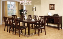 9 pc. edgewood i transitional style dark espresso wood finish dining table set