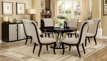 "Furniture of america CM3353RT-7PC 7 pc ornette espresso and champagne finish wood 60"" round dining table set"