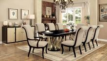 CM3353T-7PC 7 pc ornette espresso and champagne finish wood double pedestal dining table set