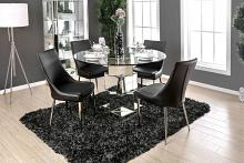 "CM3384RT-BK-5PC 5 pc Orren ellis seibel Izzy modern style silver 50"" round glass top dining table set"