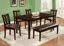 6 pc northvale ii transitional style espresso finish wood dining table set with padded leatherette seats and bench
