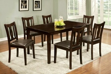 7 pc northvale i transitional style espresso finish wood dining table set with padded leatherette seats