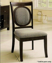Set of 2 Evelyn Side Chair with Upholstered Back and Seat in a Dark Walnut Wood Finish Frame