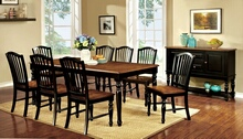 7 pc mayville collection elegant country style two tone black and vintage oak finish wood dining table set