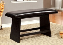 Hurley collection modern style black finish wood dining bench with upholstered seat