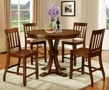 Furniture of america CM3437PT 5 pc foster ii collection contemporary style dark oak finish round counter height dining table set with nail head trim