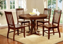 Furniture of america CM3437RT 5 pc. foster i transitional style dark oak finish wood round dining table with nail head trim edge
