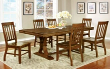 CM3437T-7PC 7 pc foster i dark oak finish wood dining table with nail head trim edge