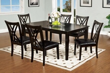 7 pc. springhill contemporary style espresso finish wood with leather like vinyl upholstered seat cushions