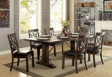CM3465T-7PC 7 pc Fleur De lis living knaresborough paulina rustic walnut finish wood industrial dining table set