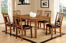 7 pc freeman i collection contemporary style oak finish wood dining set with dark upholstered chairs