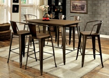 7 pc cooper ii collection natural elm finish wood top and metal finish legs counter height dining table set