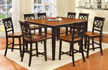 CM3552BC-PT-7PC 7 pc Hokku designs exenia torrington ii two tone vintage black oak finish wood counter height dining table set