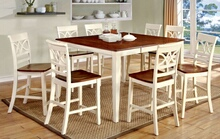 7 pc torrington ii collection country style two tone vintage white and oak finish wood counter height dining table set with wood seats