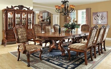 CM3557T 7 pc medieve antique oak finish wood elegant double pedestal dining table set