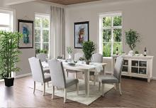 CM3630T-7PC 7 PC One allium way mercedes daniella antique white finish wood dining table set
