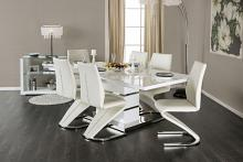 CM3650T-7PC 7 pc Midvale modern style white high gloss dining table set