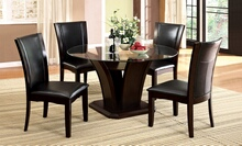 "CM3710RT-5PC 5 pc manhattan ii dark cherry finish wood 54"" round glass top dining table set"