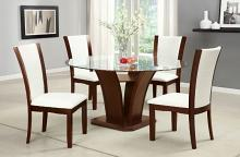 "CM3710RT-WH-5PC 5 pc Latitude run yeager manhattan ii dark cherry finish wood 54"" round glass top dining table set"