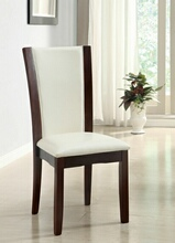 Set of 2 dark cherry finish wood side chairs with white faux leather upholstery