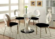 "CM3727T-5PC 5 pc Langford valo modern style satin plated metal 45"" round glass top dining table set"