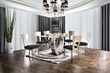 Furniture of america CM3728T-7PC 7 pc nova modern style satin plated metal base glass top dining table set