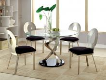"Furniture of america CM3729T-3727-5PC 5 pc roxo modern style satin plated metal 48"" round glass dining table set"