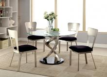 "Furniture of america CM3729T-3728-5PC 5 pc roxo modern style satin plated metal 48"" round glass dining table set"