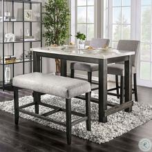 CM3736PT-LG 4 pc Red barrel studio brule antique black finish wood marble top counter height dining table set