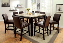 CM3823PT 7 pc Hokku designs dornan gladstone ii dark walnut finish wood marble top counter height dining table set
