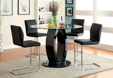 "CM3825BK-RPT 5 pc Orren ellis waller lodia ii modern style black finish wood base 48"" round counter height table set"