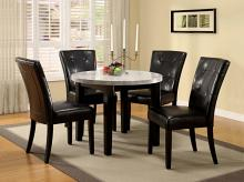 "CM3866RT-40-5PC 5 pc marion iv espresso finish wood 40"" round marble table top dining set"