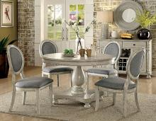 "CM3872WH-RT-5PC 5 pc One allium way bloomingdale siobhan antique white finish wood 48"" round dining table set"
