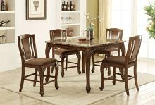 Furniture of america CM3873PT-5PC 5 pc Johannesburg I brown cherry finish wood faux marble top counter height dining table set
