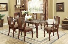 CM3873T-7PC 7 pc Johannesburg I brown cherry finish wood faux marble top dining table set