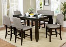Furniture of america CM3911PT-6pc 6 pc Teagan dark walnut finish wood counter height dining table set