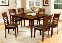 7 pc hillsview i collection transitional style brown cherry finish wood square dining table set