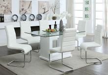 CM3917T-8371WH-7PC 7 pc Orren ellis bissonet eva white finish wood base beveled glass top dining table set