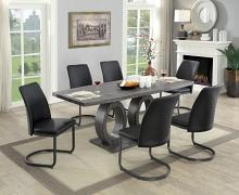 CM3918T-7PC 7 pc Strick and Bolton chano saskia gray finish wood double oval base dining table set