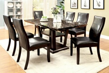 Furniture of america CM3933T 7 pc clayton i collection contemporary style cherry wood finish and faux marble top dining set with dark upholstered chairs
