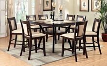 7 pc brent ii collection modern style dark cherry finish wood counter height dining table set with faux marble inserts