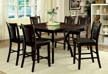 7 pc brent ii collection modern style dark cherry finish wood counter height dining table set with padded seats