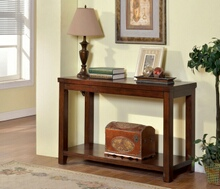 Estell collection transitional styling dark cherry finish wood and sofa console entry table with lower shelf